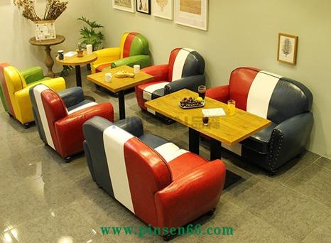 咖啡厅沙发桌椅组合 西餐厅奶茶店沙发 美式商用卡座休闲咖啡椅子