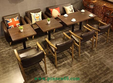 咖啡厅桌椅 美式乡村 复古loft 星巴克 甜品店咖啡馆沙发卡座组合
