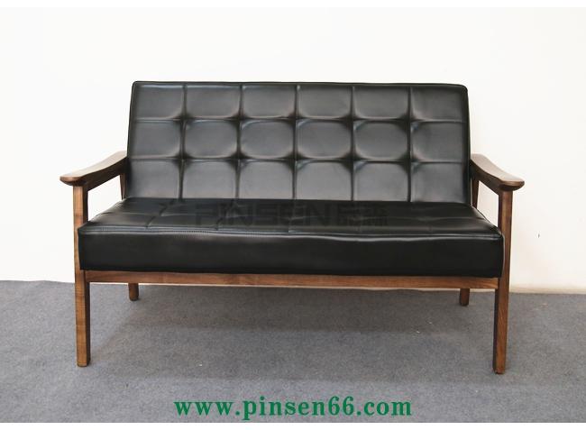 简约休闲原木色小户型单人双人北欧日式木质水曲柳实木沙发组合