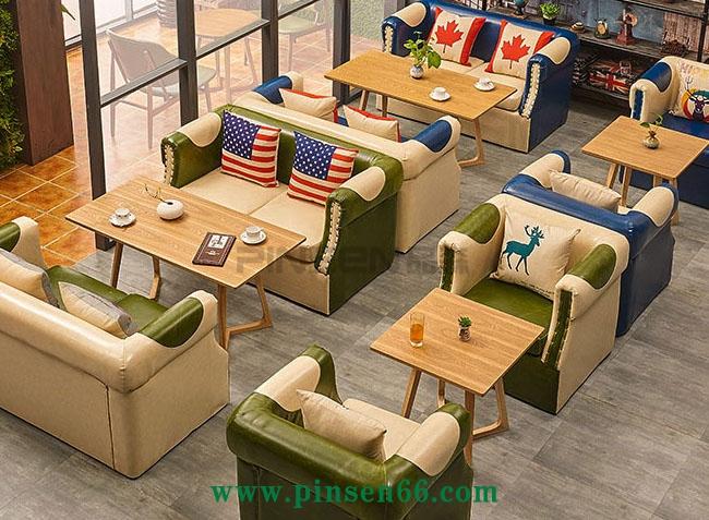 咖啡厅沙发 皮艺茶餐厅沙发 布艺西餐厅沙发拼色酒吧沙发卡座