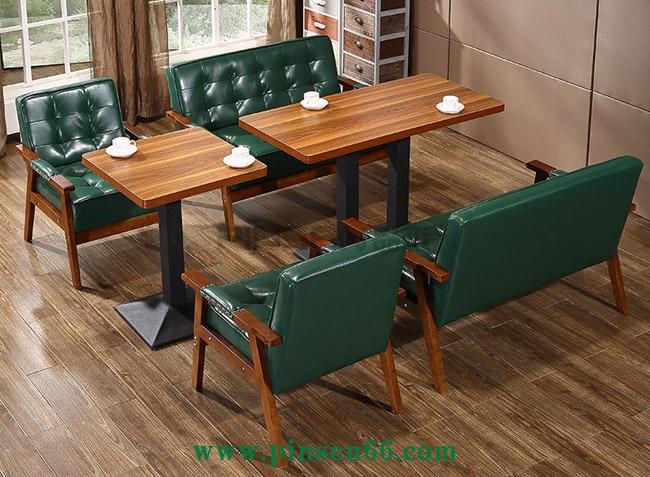 咖啡厅沙发椅咖啡馆甜品店西餐厅奶茶店实木双人沙发卡座桌椅组合