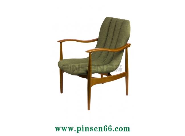 实木曲形扶手软布包休闲咖啡厅餐桌椅