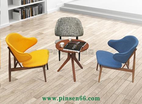 北欧沙发椅单人实木咖啡椅简约现代棉麻布艺休闲餐桌椅