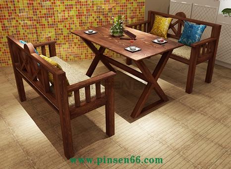 复古做旧地中海餐桌椅组合4人咖啡厅桌椅奶茶店
