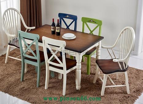美式乡村餐桌椅组合6人复古实木 餐桌椅小户型饭