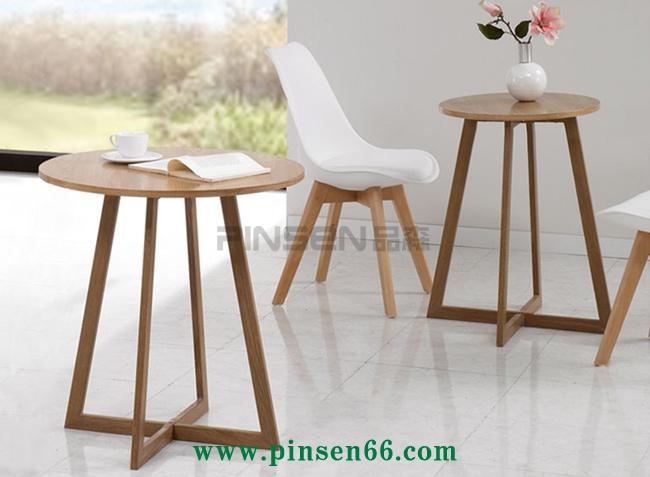 洽谈圆桌椅组合实木宜家简约北欧式休闲阳台接待咖啡厅餐桌椅
