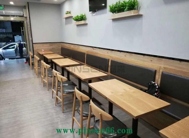 咖啡厅甜品店长方形餐桌椅组合