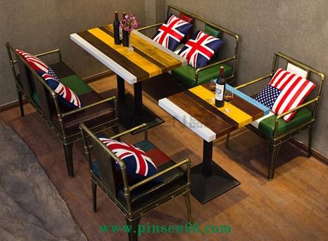 北欧铁艺复古工业风布艺卡座沙发西餐厅酒吧咖啡厅实木餐桌椅组合