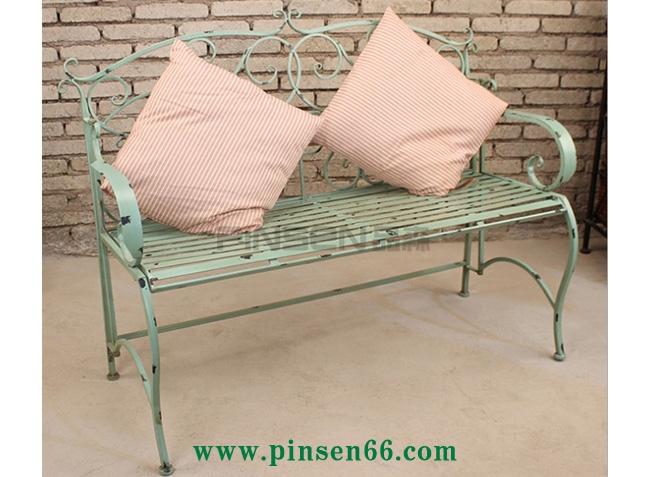 复古做旧乡村田园复古绿铁艺双人椅庭院露台家居装饰椅
