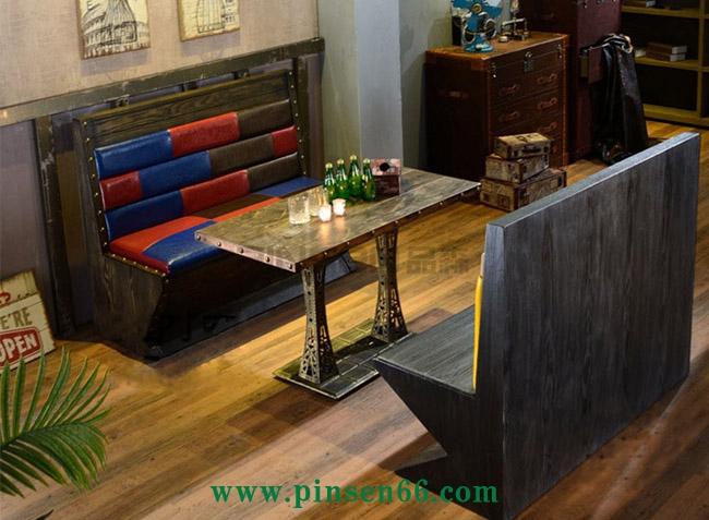实木框架软包卡座餐厅双人卡座 美式实木做旧卡座咖啡厅卡座沙发