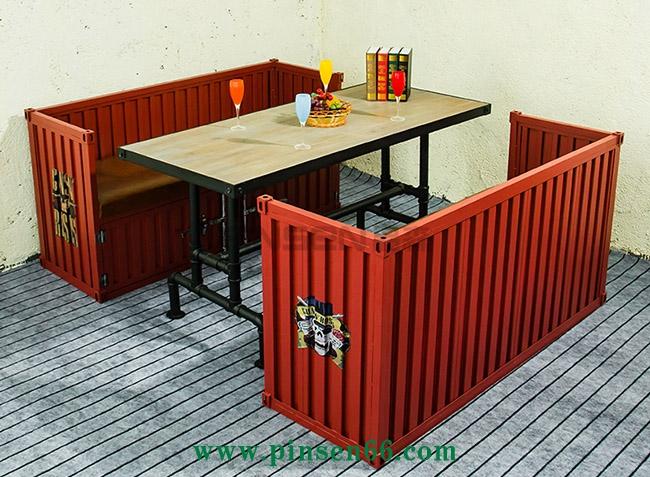 自助餐牛排西餐厅卡座酒吧咖啡厅沙发餐饮店桌椅组合集装箱沙发