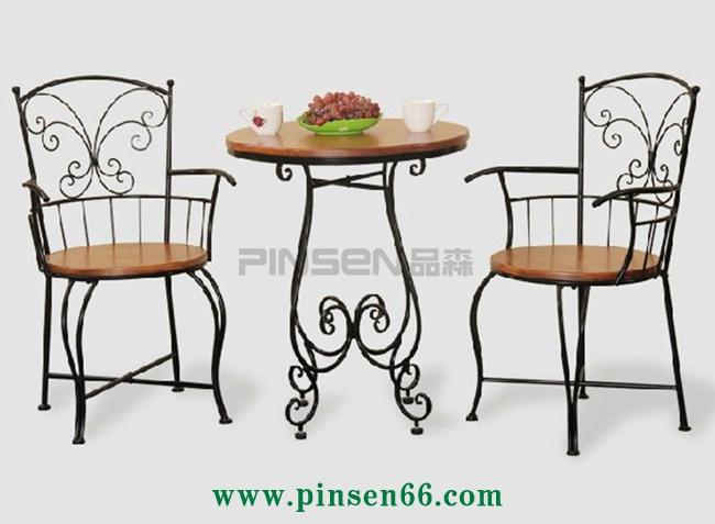创意铁艺实木组合咖啡厅室内客厅庭院户外休闲茶几圆桌阳台餐