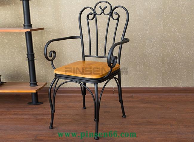 复古餐桌椅做旧扶手餐桌椅欧式铁艺实木餐桌椅经济型酒吧休闲