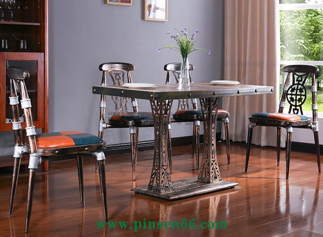 靠背椅美式咖啡厅休闲椅酒店餐桌椅简约铁艺椅