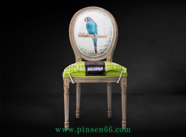 优友实木餐椅布艺咖啡厅餐椅简约酒店北欧软包