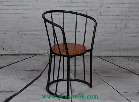 创意loft欧式乡村复古工业风 真皮铁艺圈椅休闲椅