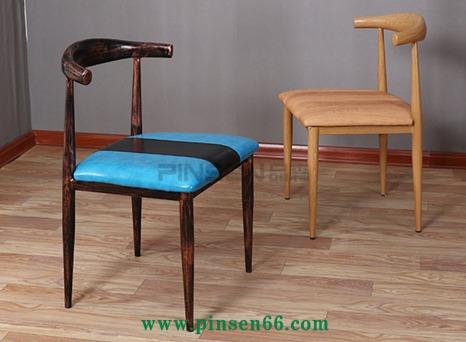 简约美式铁艺牛角椅仿实木椅子复古快餐桌椅组