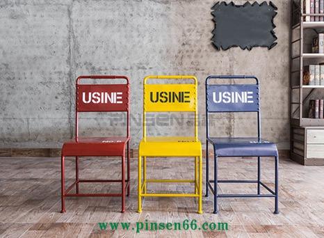 美式彩色餐椅工业风铁皮椅酒吧椅复古做旧咖啡