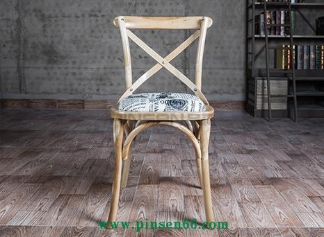 美式乡村椅子复古loft咖啡椅铁艺餐椅叉背全实木