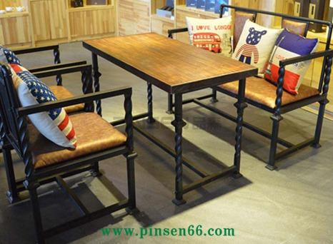 美式loft复古创意酒吧桌椅组合 做旧咖啡厅椅 铁艺实木休闲吧餐桌