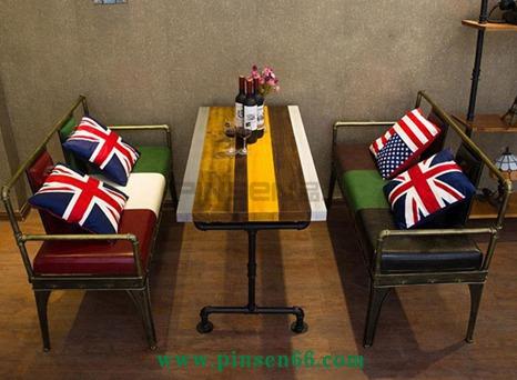 美式复古工业风单多人酒吧桌椅组合咖啡馆餐厅做旧创意铁艺沙发椅