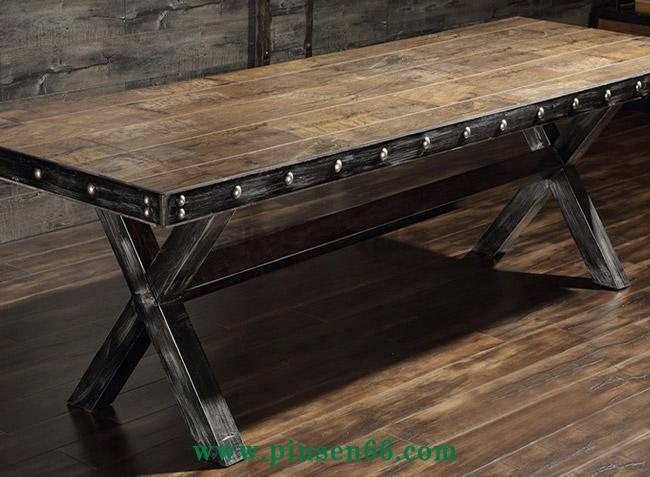 美式复古酒店餐桌椅 大型餐厅超长铁皮包边铁艺餐桌椅定制厂家