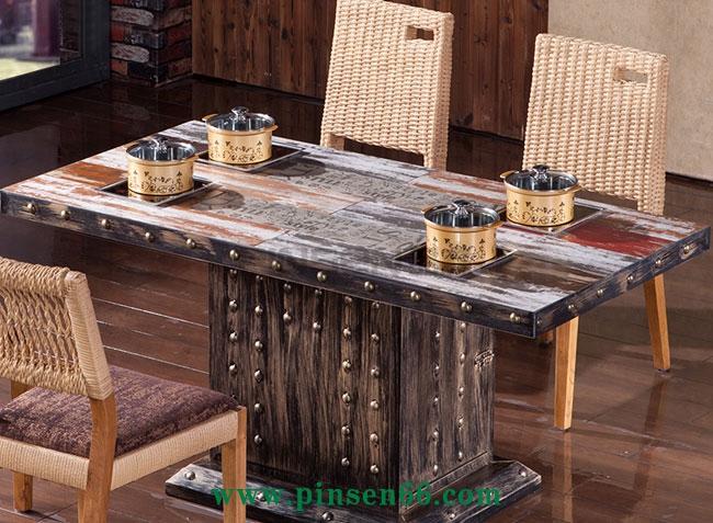 美式咖啡厅主题餐厅餐桌椅圆形铁艺火锅桌圆桌子组合复古工业风餐桌椅