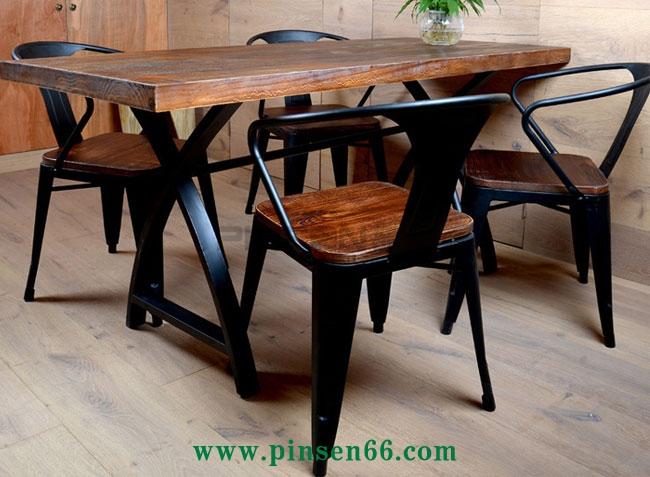 美式乡村餐厅实木餐桌椅组合 长方形复古原木咖啡厅长桌子简约餐桌椅