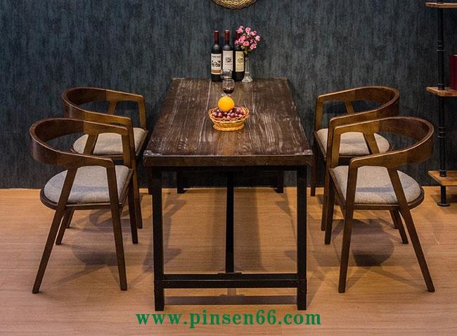 实木铁艺成套西餐厅餐桌椅