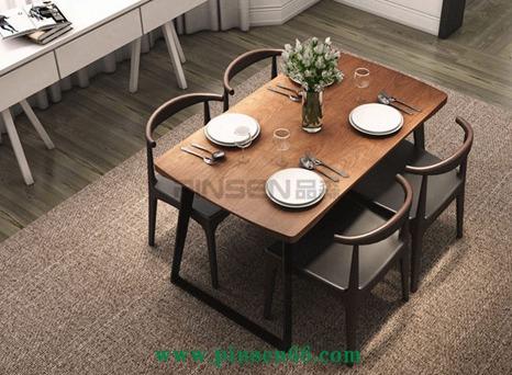 美式乡村实木餐桌椅组合铁艺休闲西餐厅四人用餐桌办公桌子可