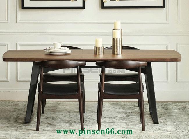 美式乡村实木餐桌椅组合铁艺休闲西餐厅四人用餐桌办公桌子可定制