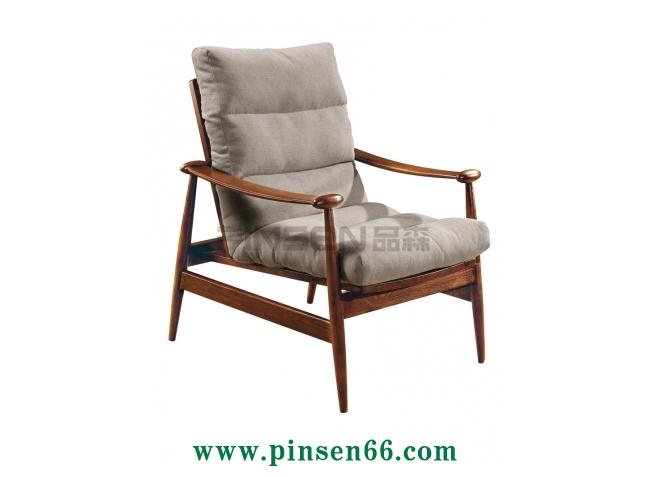 实木软包布艺扶手单人沙发卡座