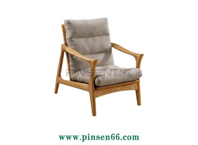实木布艺软包创意扶手单人沙发卡座