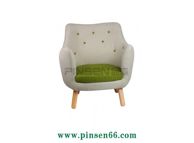 实木椅脚布艺软包单人沙发卡座
