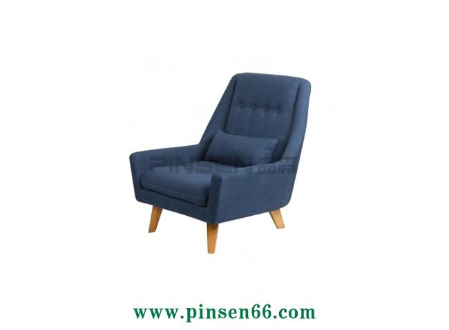 实木布艺靠垫单人沙发卡座