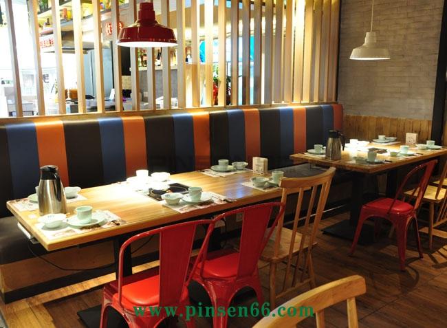 主题餐厅实木浮雕面板火锅店桌椅-厂家定制