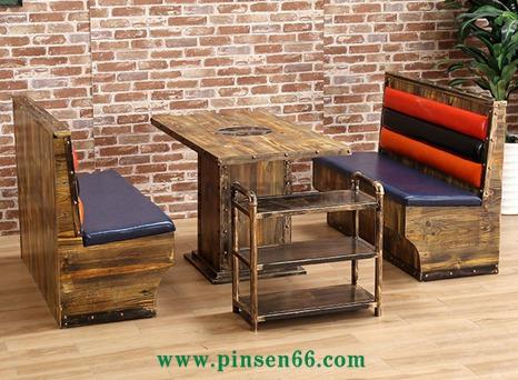 主题餐厅火锅桌椅 复古工业风碳化实木烧烤桌子