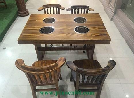 定制实木复古碳化火锅桌子 炭烧木火烧木一人一
