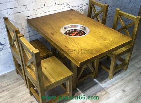 实木火锅桌 电磁炉火锅桌 炭烧木主题餐厅桌椅组