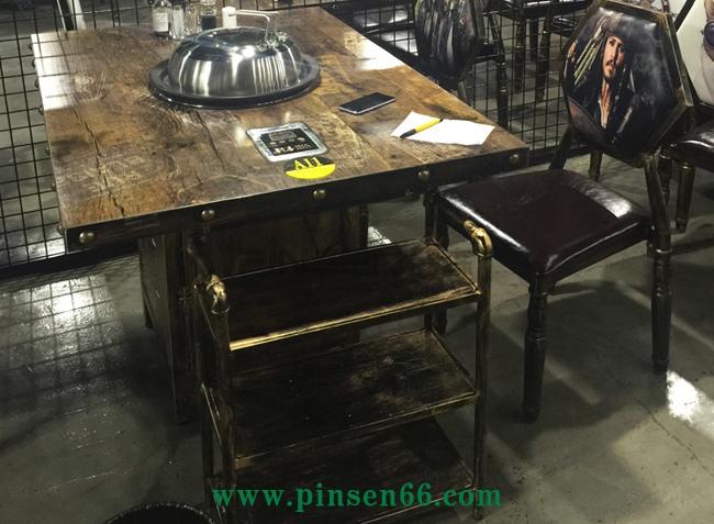 美式loft复古风格实木蒸汽火锅餐桌软包椅子组合