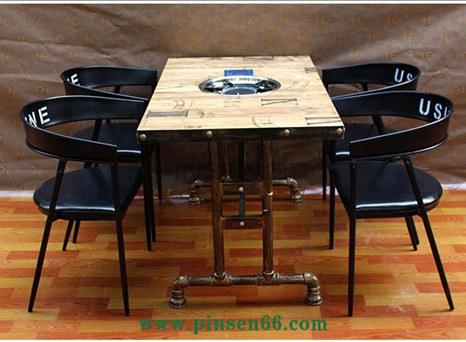 厂家直销水管主题火锅桌带电磁炉火锅餐桌椅