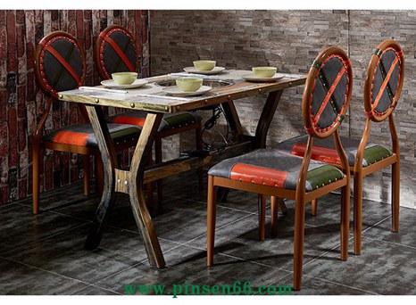 复古铁艺餐桌椅组合 个性火锅店餐桌椅组合