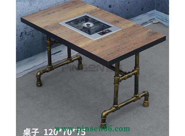实木复古火锅桌