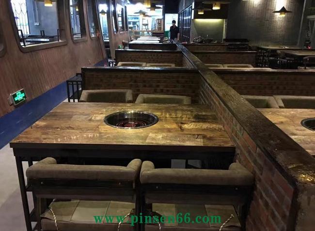 德庄实木火锅餐桌椅子组合