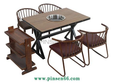 厂家直销主题餐厅实木复古火锅桌椅组合下沉式电磁炉火锅桌子定制
