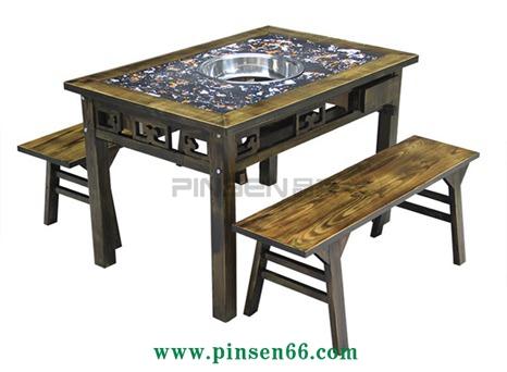 柜式仿古雕花实木大理石火锅桌椅组合重庆老火