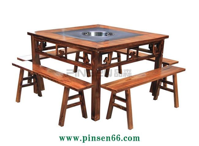 柜式仿古雕花实木大理石火锅桌椅组合重庆老火锅麻辣烫串串香铜锅