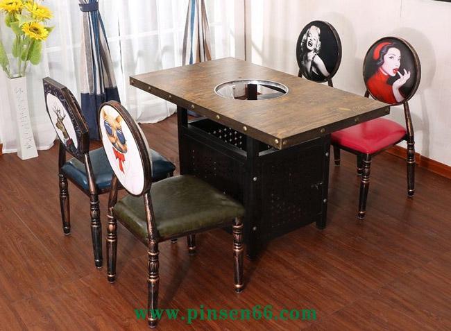 美式铁艺实木火锅桌