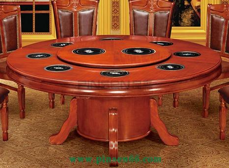 实木圆形餐桌 电动火锅桌酒店大型宴会餐桌饭桌