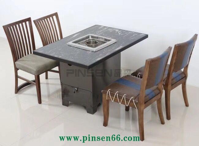 黑色大理石无烟火锅桌